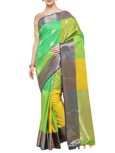green woven saree with blouse - 14890366 - Standard Image - 1