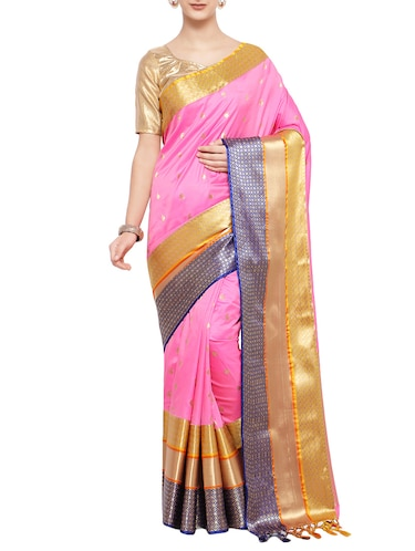 pink silk blend woven saree with blouse - 14890371 - Standard Image - 1