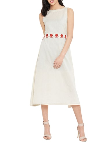 white solid a-line dress - 14890506 - Standard Image - 1