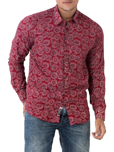 red cotton casual shirt - 14890514 - Standard Image - 1