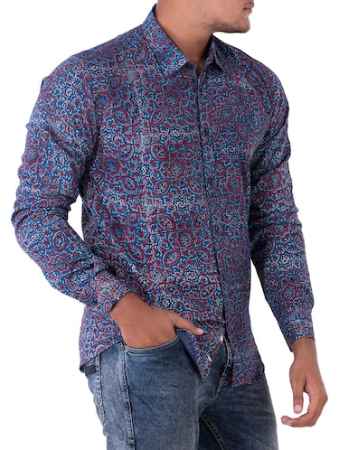 blue cotton casual shirt - 14890518 - Standard Image - 1