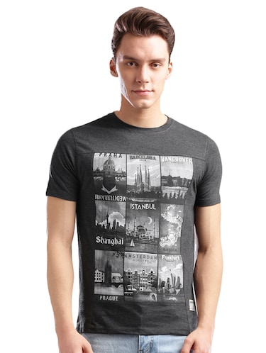 grey cotton front print t-shirt - 14890631 - Standard Image - 1