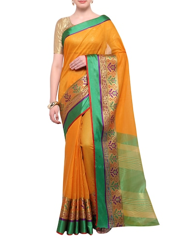mustard cotton blend bordered saree with blouse - 14890872 - Standard Image - 1