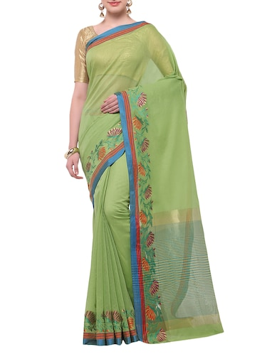 green cotton blend bordered saree with blouse - 14890877 - Standard Image - 1