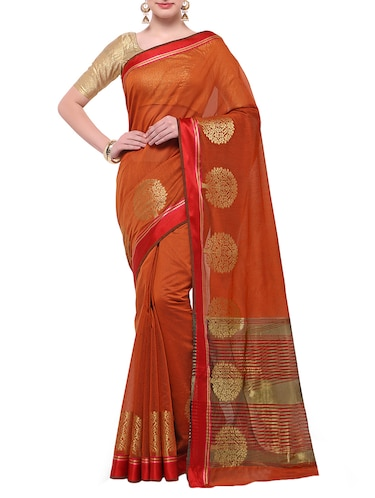 orange cotton blend bordered saree with blouse - 14890878 - Standard Image - 1