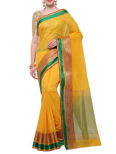 yellow cotton blend bordered saree with blouse - 14890885 - Standard Image - 1