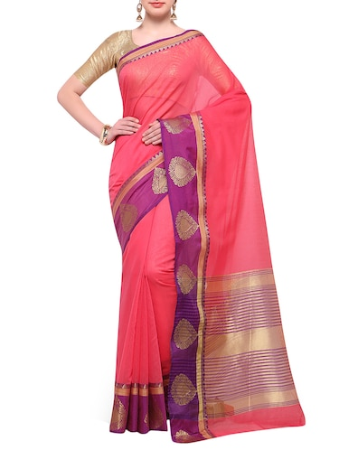peach cotton blend bordered saree with blouse - 14890887 - Standard Image - 1