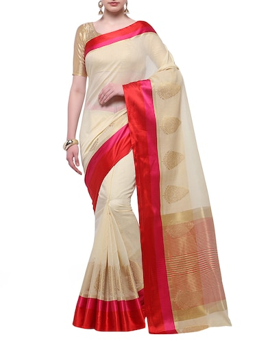 cream cotton blend bordered saree with blouse - 14890897 - Standard Image - 1