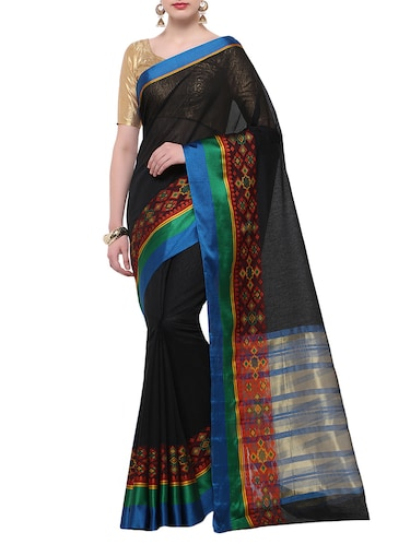 black cotton blend bordered saree with blouse - 14890901 - Standard Image - 1