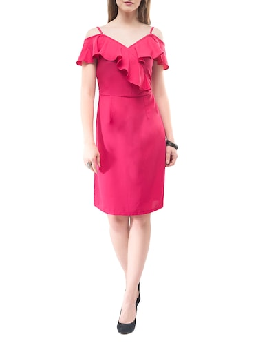 pink solid sheath dress - 14890916 - Standard Image - 1