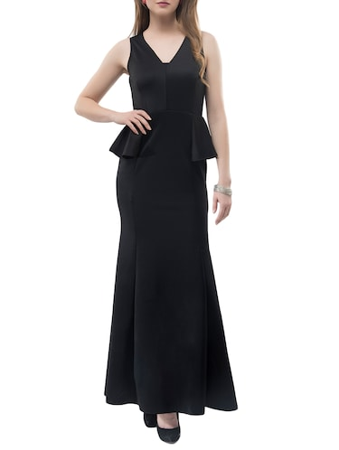 black solid gown dress - 14890925 - Standard Image - 1