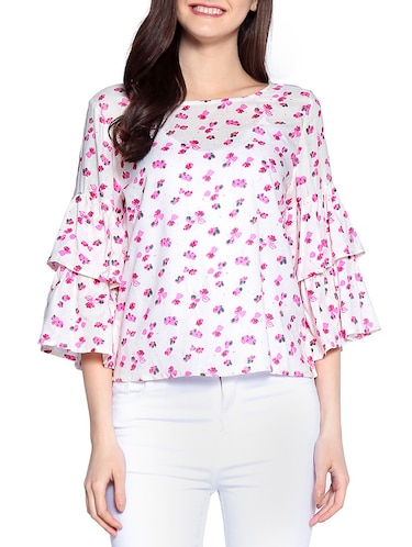 floral ruffle sleeved top - 14891682 - Standard Image - 1
