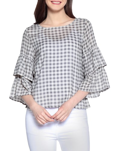 Gingham checked bell sleeved top - 14891683 - Standard Image - 1