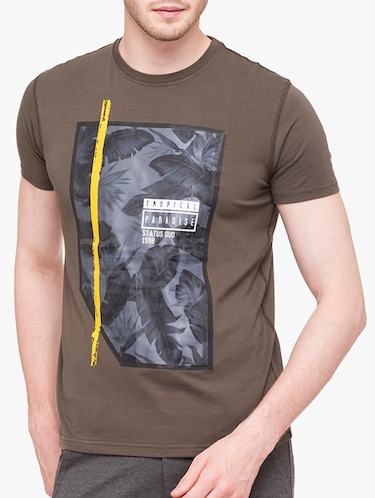 olive green cotton front print tshirt - 14891844 - Standard Image - 1