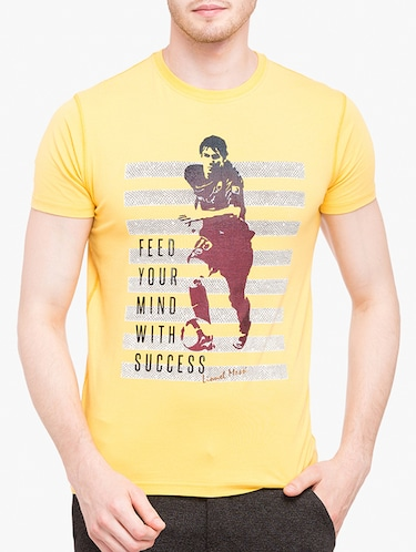 yellow cotton front print tshirt - 14891856 - Standard Image - 1