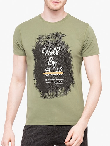 olive green cotton chest print t-shirt - 14891861 - Standard Image - 1