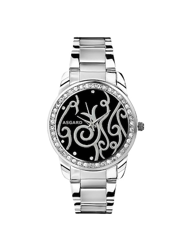 stainless steel round black dial watch - 14893188 - Standard Image - 1