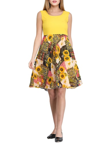 yellow floral fit & flare dress - 14893197 - Standard Image - 1