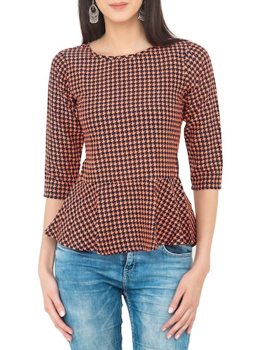 orange houndstooth peplum top - 14893208 - Standard Image - 1