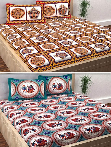 120 TC 100% Cotton Printed 2 Double Bedsheet With 4 Pillow Covers - 14893281 - Standard Image - 1
