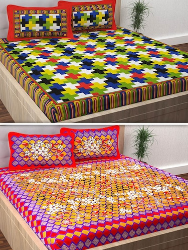 120 TC 100% Cotton Printed 2 Double Bedsheet With 4 Pillow Covers - 14893284 - Standard Image - 1