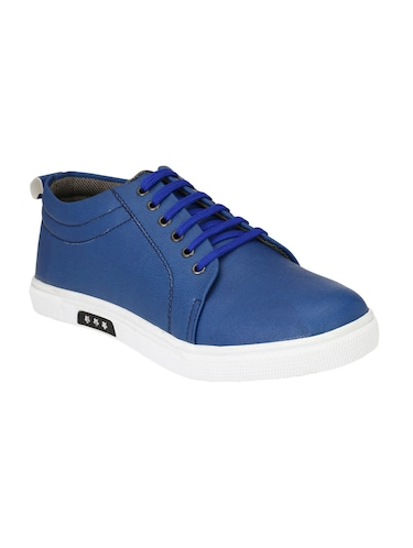 blue leatherette lace up sneaker - 14893344 - Standard Image - 1