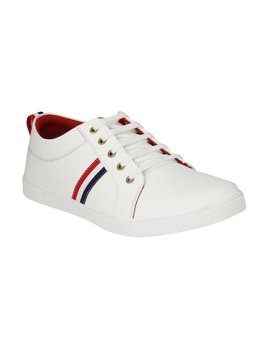 white leatherette lace up sneaker - 14893349 - Standard Image - 1