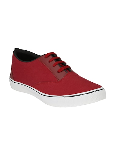 red Canvas lace up sneaker - 14893356 - Standard Image - 1