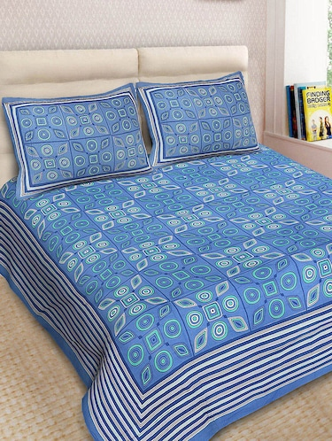 Cotton Printed Double Bedsheet With 2 Pillow Covers - 14893428 - Standard Image - 1