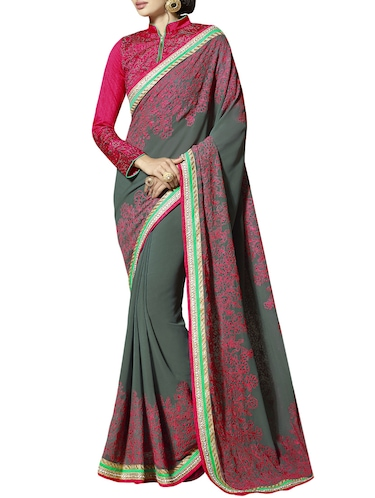 Floral embroidered saree with blouse - 14893498 - Standard Image - 1