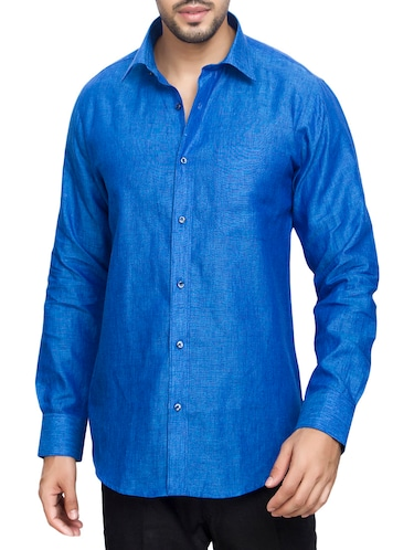 blue cotton casual shirt - 14893525 - Standard Image - 1