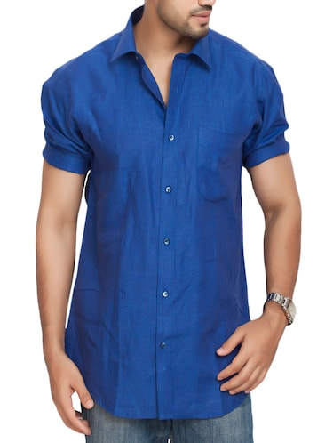 blue cotton casual shirt - 14893526 - Standard Image - 1