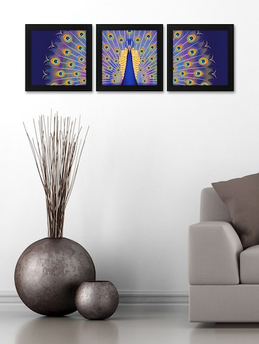 Peacock Print 3Pc Frame For Living Room And Bed Room (Wood, 30 cm x 3 cm x 30 cm, Special Effect Textured) - 14893533 - Standard Image - 1