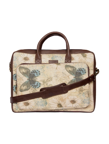 beige  jute regular laptop bag - 14893572 - Standard Image - 1