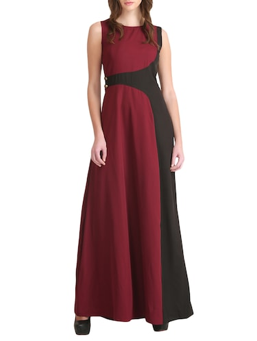 maroon color block gown dress - 14893749 - Standard Image - 1
