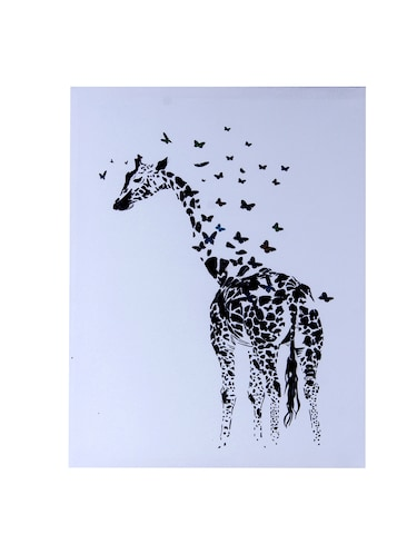 Scattered Butterfly Cum Giraffe Canvas Painting - 14893940 - Standard Image - 1