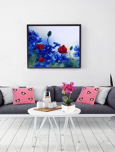 Deep Red & Blue Hues Floral Canvas Painting - 14893951 - Standard Image - 1