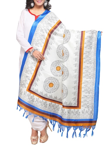 off-white art silk printed dupatta - 14894010 - Standard Image - 1