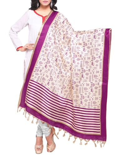 purple art silk printed dupatta - 14894023 - Standard Image - 1