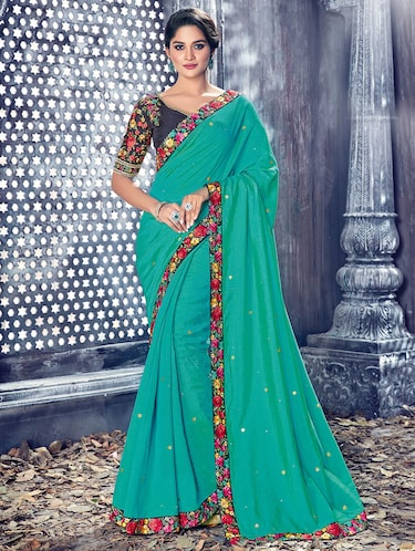 green dupion embellished saree with blouse - 14894102 - Standard Image - 1