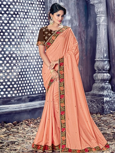 peach dupion embellished saree with blouse - 14894103 - Standard Image - 1