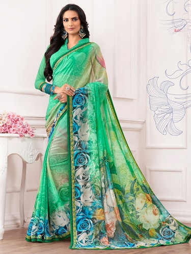 green georgette printed saree with blouse - 14894144 - Standard Image - 1
