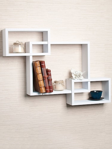 Wooden Rack Living Decor Intersecting Floating Wall Shelves - 14894218 - Standard Image - 1