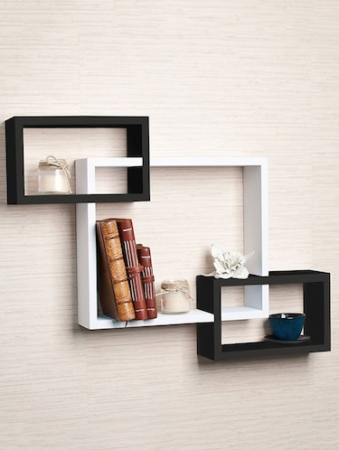 Wooden Rack Living Decor Intersecting Floating Wall Shelves - 14894222 - Standard Image - 1