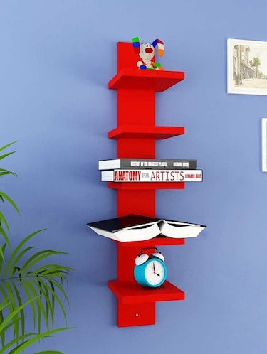Mdf Floating Wall Shelf Rack Curve Shape 5 Tier - 14894256 - Standard Image - 1
