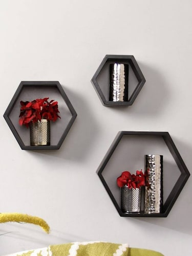Home Deco Hexagon Shape Storage Wall Shelves Set Of 3 - 14894258 - Standard Image - 1