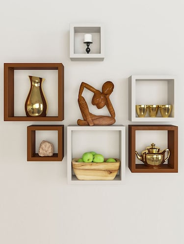 Wooden Nesting Square Wall Shelf Set of 6 - 14894324 - Standard Image - 1