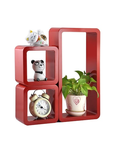 Decor Home Wall Shelf Set Of 2 Cube & 1 Rectangle Wall Rack Shelves - 14894339 - Standard Image - 1