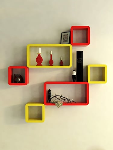 Decor Wall Rack Shelves Cube Rectangle Designer Wall Shelf Set Of 6 - 14894370 - Standard Image - 1