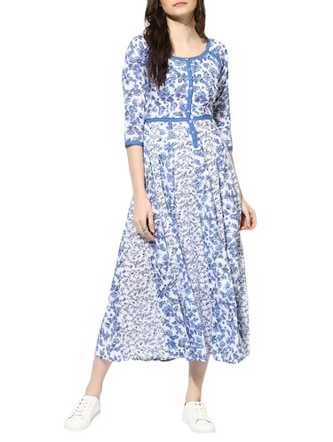 blue cotton maxi dress - 14894714 - Standard Image - 1